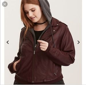Torrid hooded leather jacket